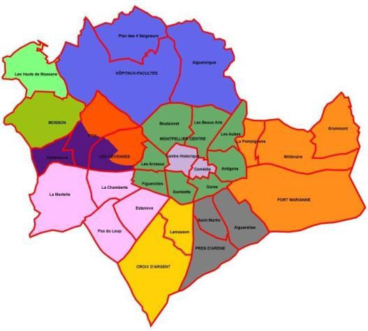 Info montpellier carte quartier voyages cartes - Quartiers de montpellier ...